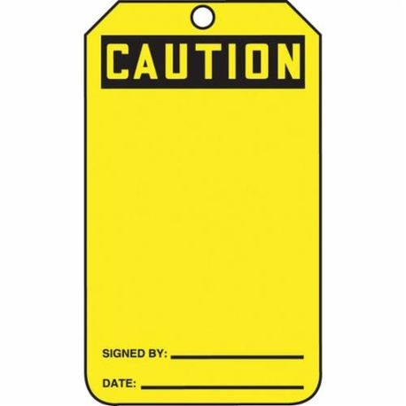 Accuform MDT623CTP Safety Tag, 5-3/4 in H x 3-1/4 in W, Black/Yellow, 3/8 in Hole, PF-Cardstock