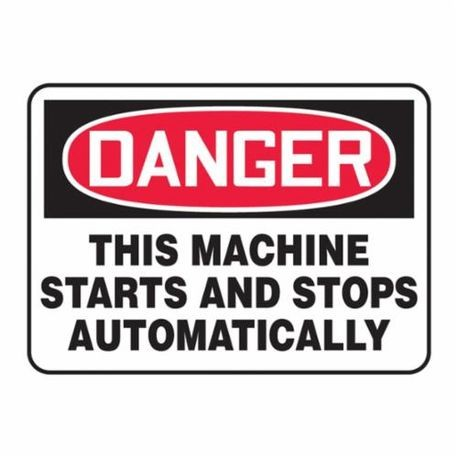 Accuform MEQM152VP Danger Safety Sign, 10 in H x 14 in W, Red/Black on White, Surface Mount, Plastic