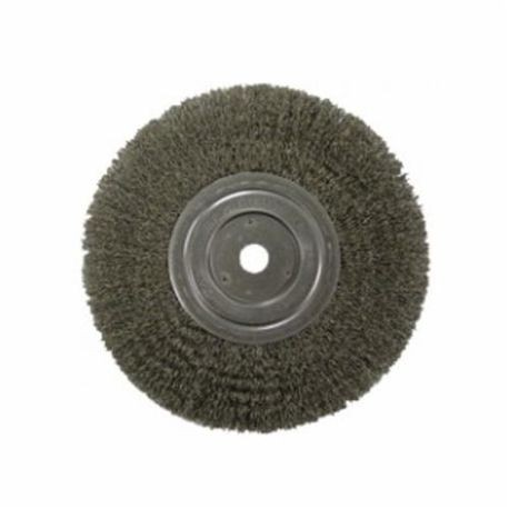 Vortec Pro 36007 Narrow Face Wire Wheel Brush With Nut, 4 in Dia, 5/8-11 UNC, 0.014 in Crimped Wire