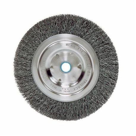 Vortec Pro 36000 Narrow Face Wire Wheel Brush With Arbor Hole, 6 in Dia, 5/8 to 1/2 in, 0.014 in Crimped Wire