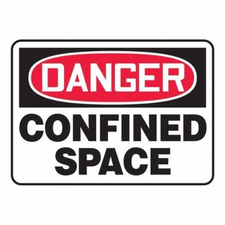 Accuform MCSP002VP Danger Safety Sign, 10 in H x 14 in W, Red/Black on White, Surface Mount, Plastic
