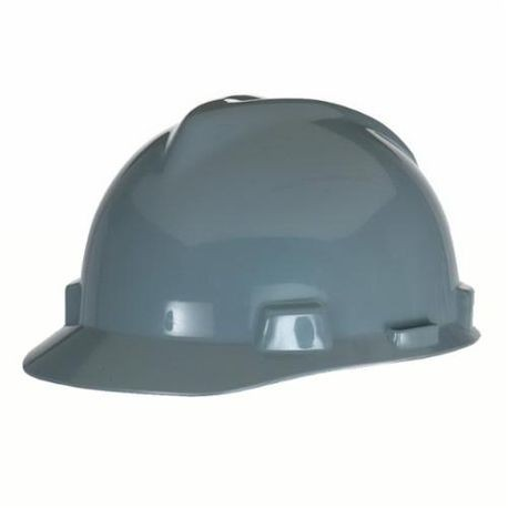 V-Gard 475364 Front Brim Slotted Hard Hat, Fits Hat 6-1/2 to 8 in Gray Polyethylene Fas-Trac III 4-Point Ratchet Suspension, Class E