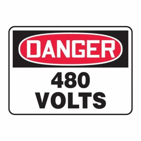 Accuform MELC059VP Danger Safety Sign, 10 in H x 14 in W, Red/Black on White, Surface Mount, Plastic