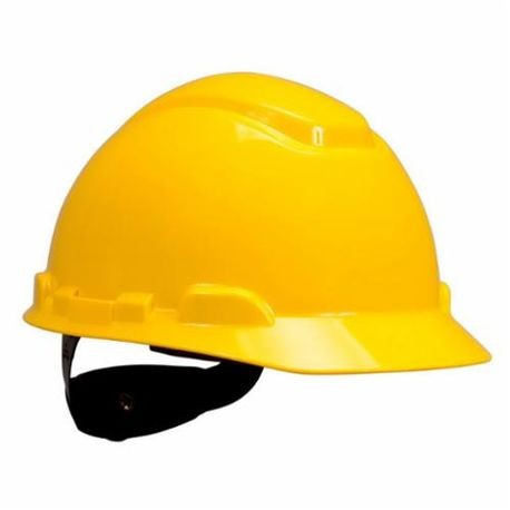 3M 078371-64188 Non-Vented Short Brim Hard Hat, Yellow, 4-Point Pinlock Suspension, High Density Polyethylene