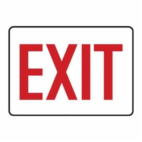 Accuform MEXT906VP Exit Sign, 7 in H x 10 in W, Red on White, Surface Mount, Plastic