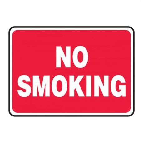 Accuform MSMK570VA Moisture Resistant No Smoking Sign, 10 in H x 14 in W, White on Red, Surface Mount, Aluminum