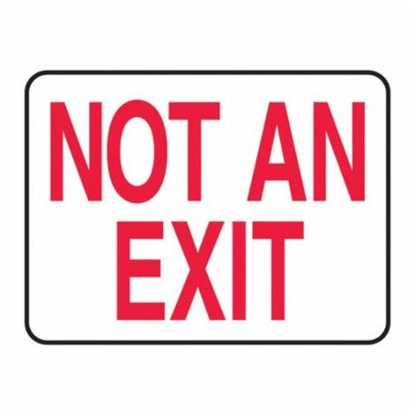 Accuform MEXT910VP Fire No Exit Sign, 7 in H x 10 in W, Red on White, Surface Mount, Plastic