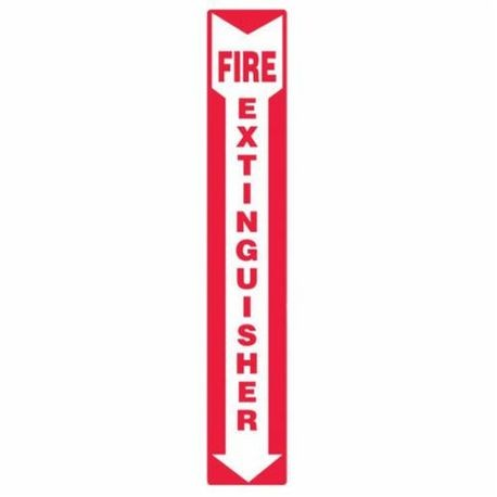 Accuform MFXG543VA Moisture Resistant Fire Extinguisher Sign, 12 in H x 4 in W, White/Red, Wall Mount, Aluminum