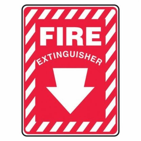 Accuform MFXG417VP Moisture Resistant Fire Extinguisher Sign, 10 in H x 7 in W, White/Red, Surface Mount, Plastic