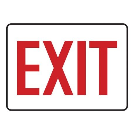 Accuform MADC531VS Moisture Resistant Exit Sign, 7 in H x 10 in W, Red on White, Surface Mount, Adhesive Vinyl