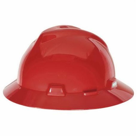 V-Gard 475371 Full Brim Vented Hard Hat, Fits Hat 6-1/2 to 8 in, Red, Polyethylene, 4-Point Ratchet Suspension, Class E