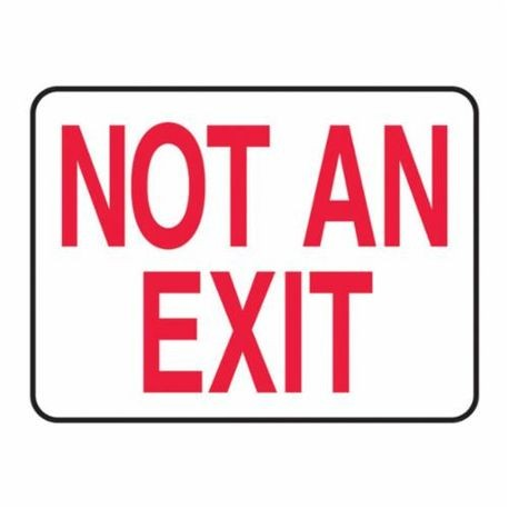Accuform MEXT910VS Moisture Resistant Fire No Exit Sign, 7 in H x 10 in W, Red on White, Surface Mount, Adhesive Vinyl