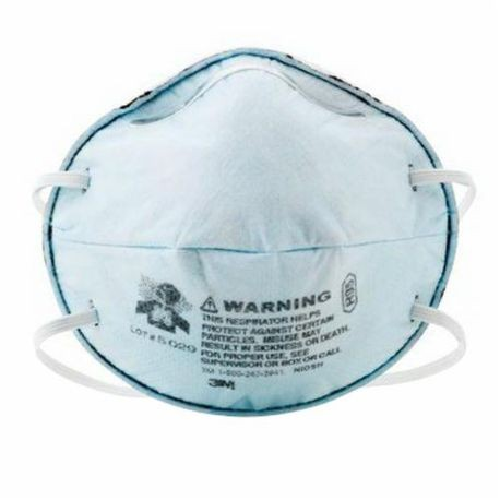 3M 8246 Cup Style Disposable Particulate Respirator, Standard, R95, 0.95, Stapled Headstrap, Light Blue