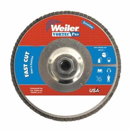 Vortec Pro 31328 Fast Cut Coated Flap Disc, 7 in Dia, 7/8 in, 80/Medium, Zirconia Alumina Abrasive, Type 29/Angled