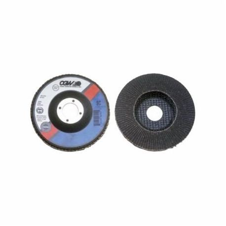 CGW56005 SC Ultimate Contaminant-Free Coated Abrasive Flap Disc, 4 in Dia, 5/8 in Center Hole, 80 Grit, Fine Grade, Silicon Carbide Abrasive, Type 27/Depressed Center Flat Disc