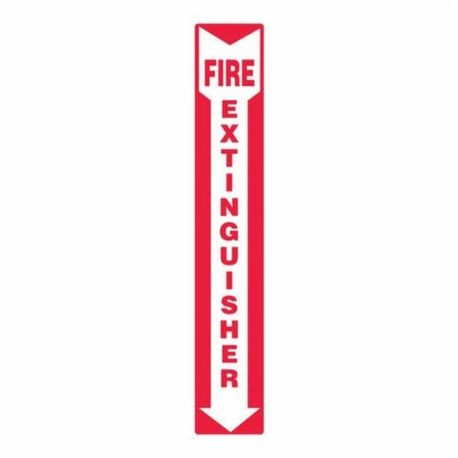 Accuform MFXG543VS Moisture Resistant Fire Extinguisher Sign, 12 in H x 4 in W, White/Red, Surface Mount, Adhesive Vinyl