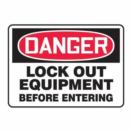 Accuform MLKT015VP Danger Safety Sign, 10 in H x 14 in W, Red/Black on White, Surface Mount, Plastic