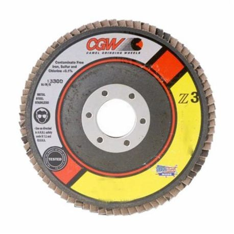 CGW53054 Contaminant-Free Premium XL Coated Abrasive Flap Disc, 6 in Dia, 60 Grit, Medium Grade, Z3Zirconia Alumina Abrasive, Type 27/Depressed Center Flat Disc