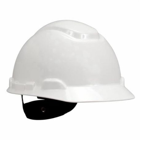 3M 078371-64197 Non-Vented Short Brim Hard Hat, White, 4-Point Ratchet Suspension, High Density Polyethylene
