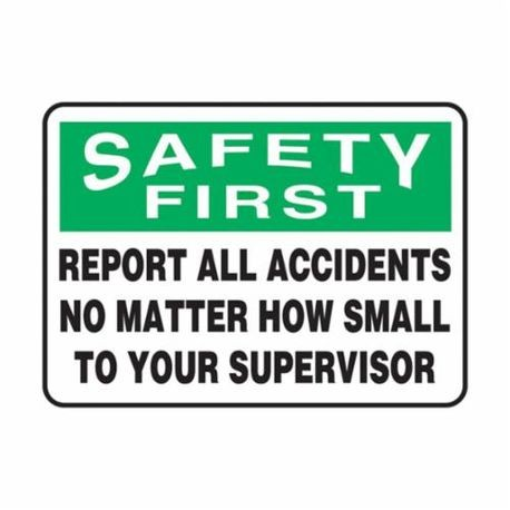 Accuform MGSH904VP Safety First Sign, 10 in H x 14 in W, Black/White/Green on White, Surface Mount, Plastic