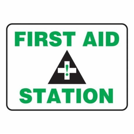 Accuform MFSD960VS Moisture Resistant First Aid Sign, 10 in H x 14 in W, Black/Green on White, Surface Mount, Adhesive Vinyl
