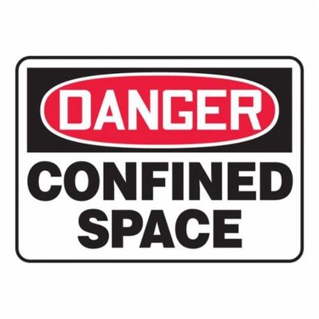 Accuform MCSP002VS Moisture Resistant Danger Safety Sign, 10 in H x 14 in W, Red/Black on White, Surface Mount, Adhesive Vinyl