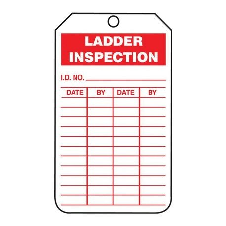 Accuform TRS248PTP High Strength Tear Resistant Status Record Tag, 5-3/4 in H x 3-1/4 in W, Red/White, 3/8 in Hole