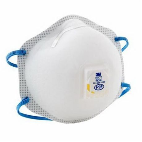3M 8271 Cup Style Disposable Particulate Respirator With Cool Flow Exhalation Valve and Adjustable M-Nose Clip, P95