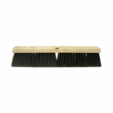 Vortec Pro 25235 Threaded Tip Push Broom, 24 in OAL, 3 in Trim, Medium Sweep Face, Black Polystyrene Border/Stiff Polypropylene Bristle