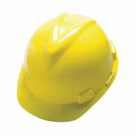 V-Gard 463944 Front Brim Slotted Hard Hat, 6-1/2 to 8 in Yellow Staz On 4-Point Pinlock Suspension, Polyethylene