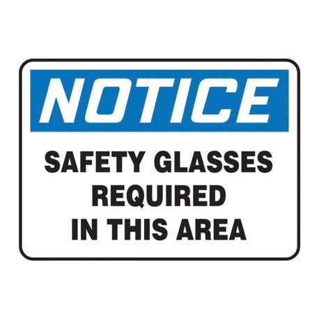 Accuform MPPE854VS Moisture Resistant Notice Sign, 7 in H x 10 in W, Black/Blue on White, Surface Mount