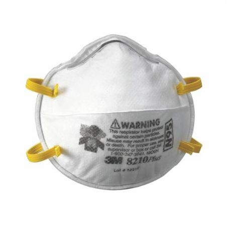 3M 8210Plus Cup Style Disposable Particulate Respirator, Standard, N95, 0.95, Stapled Headstrap, White