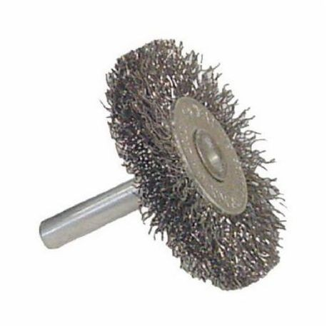 Vortec Pro 36008 Stem Mount Wheel Brush With Stem, 1-1/2 in Dia, 1/4 in, 0.0118 in Crimped/Radial Wire