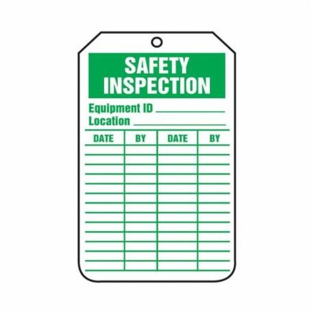 Accuform TRS315PTP High Strength Tear Resistant Inspection Record Tag, 5-3/4 in H x 3-1/4 in W, Green/White, 3/8 in Hole, RP-Plastic
