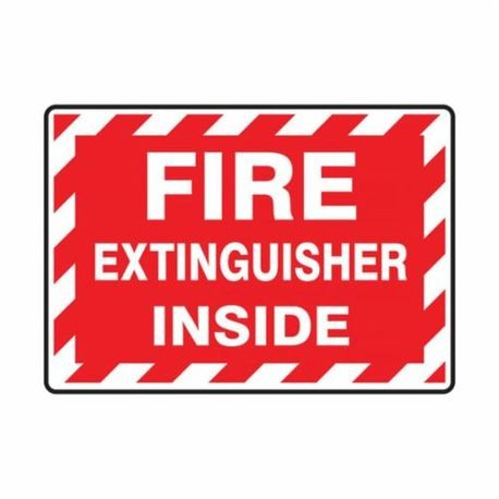 Accuform LFXG571VSP Moisture Resistant Fire Extinguisher Sign, 3-1/2 in H x 5 in W, White/Red, Surface Mount