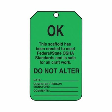 Accuform TSS103CTP Tear Resistant Waterproof Scaffold Status Tag, 5-3/4 in H x 3-1/4 in W, Black/Green, 3/8 in Hole, PF-Cardstock