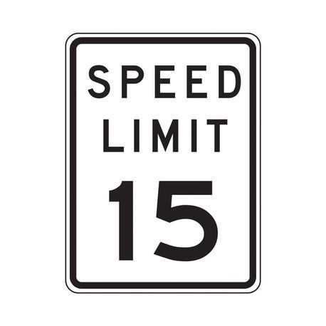 Accuform FRR21815RA Traffic Sign, Text, SPEED LIMIT 15, 0.08 in Aluminum, Post/Fence Mounting, 18 in H x 12 in W