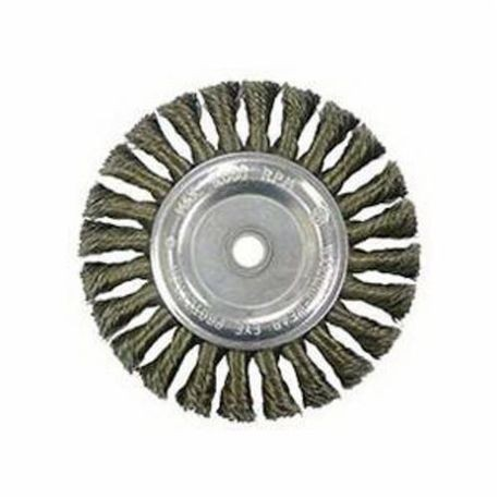 Vortec Pro 36027 Wide Face Wire Wheel Brush With Arbor Hole, 6 in Dia, 5/8 to 1/2 in, 0.014 in Standard/Twist Knot Wire