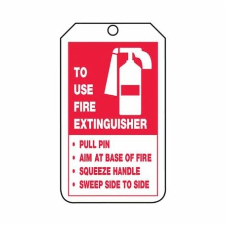 Accuform TRS218PTP Fire Extinguisher Safety Tag, 5-3/4 in H x 3-1/4 in W, Black/Red/White, 3/8 in Hole, RP-Plastic