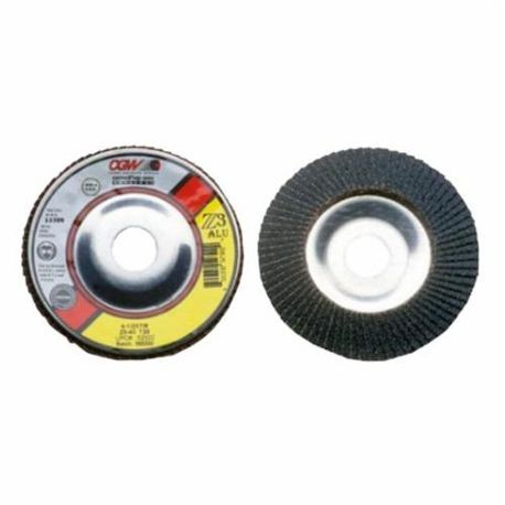 CGW52361 Contaminant-Free Premium XL Coated Abrasive Flap Disc, 4-1/2 in Dia, 7/8 in Center Hole, 36 Grit, Extra Coarse Grade, Z3Zirconia Alumina Abrasive, Type 29 Disc