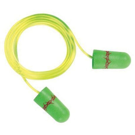 3M P1101 Corded Disposable Ear Plug, Tapered, 32 dB, Green Plug