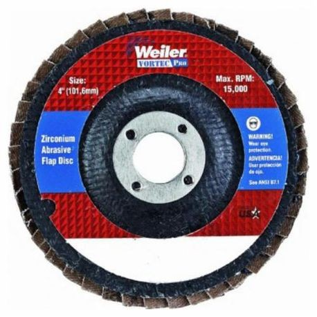 Vortec Pro 30826 Fast Cut Coated Flap Disc, 4 in Dia, 5/8 in, 80/Medium, Zirconia Alumina Abrasive, Type 29/Angled