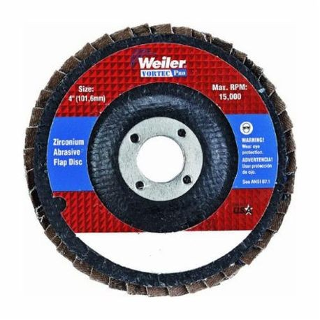 Vortec Pro 30822 Fast Cut Coated Flap Disc, 4 in Dia, 5/8 in, 36/Extra Coarse, Zirconia Alumina Abrasive, Type 29/Angled
