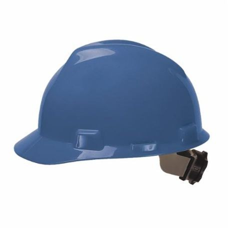 V-Gard 475359 Front Brim Slotted Hard Hat, Fits Hat 6-1/2 to 8 in Blue Polyethylene Fas-Trac III 4-Point Ratchet Suspension, Class E