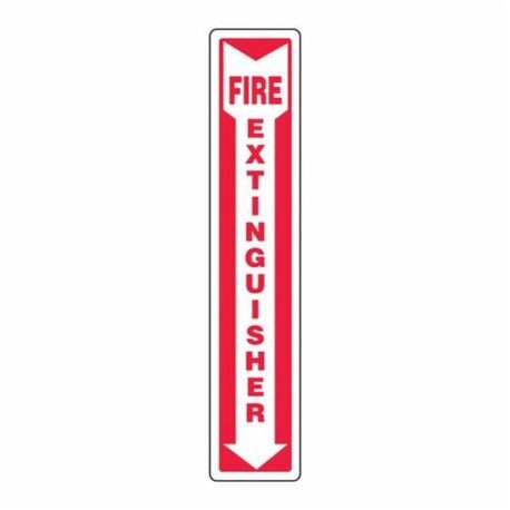 Accuform MFXG545VS Moisture Resistant Fire Extinguisher Sign, 18 in H x 4 in W, White/Red, Surface Mount, Adhesive Vinyl