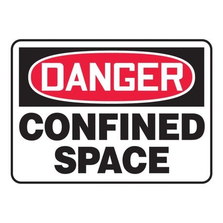 Accuform MCSP002VA Danger Safety Sign, 10 in H x 14 in W, Red/Black on White, Surface Mount, Aluminum