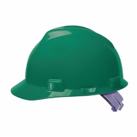 V-Gard 463946 Front Brim Slotted Hard Hat, 6-1/2 to 8 in Green Staz On 4-Point Pinlock Suspension, Polyethylene
