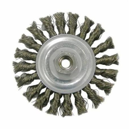 Vortec Pro 36017 Wide Face Wire Wheel Brush With Nut, 4 in Dia, M14x2, 0.014 in Standard/Twist Knot Wire