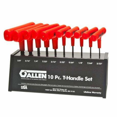 Allen 56064 SAE Cushion Grip T-Handle Hex Key Set With Metal Stand, 10 Pieces, Alloy Steel