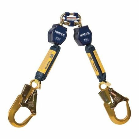 3M DBI-SALA Fall Protection Nano-Lok 3101277 Quick-Connect Self-Retracting Twin Leg Lifeline With Self-Locking Rebar Hook, 420 lb Load Capacity, 6 ft L, Specifications Met: ANSI A10.32, ANSI Z359.1, ANSI Z359.14, OSHA 1910.66, OSHA 1926.502